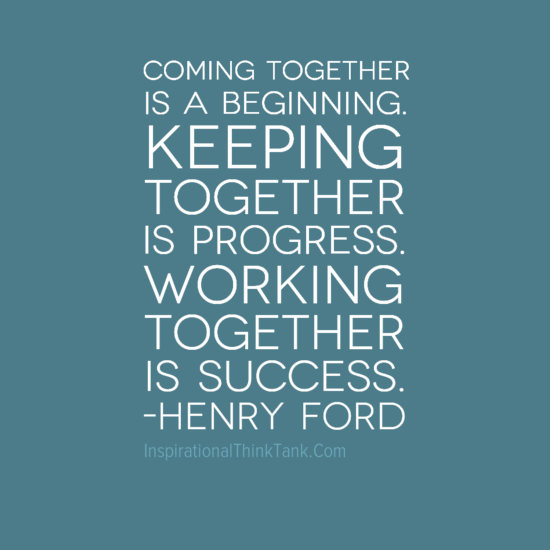 coming together is